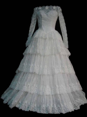 47-154gownsfa.jpg Vintage modest bridal gown front